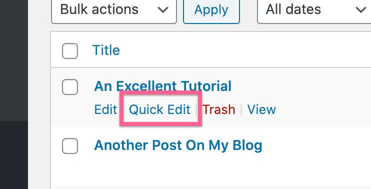Post Quick Edit