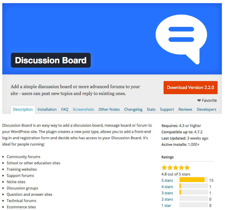 Discussion board plugin