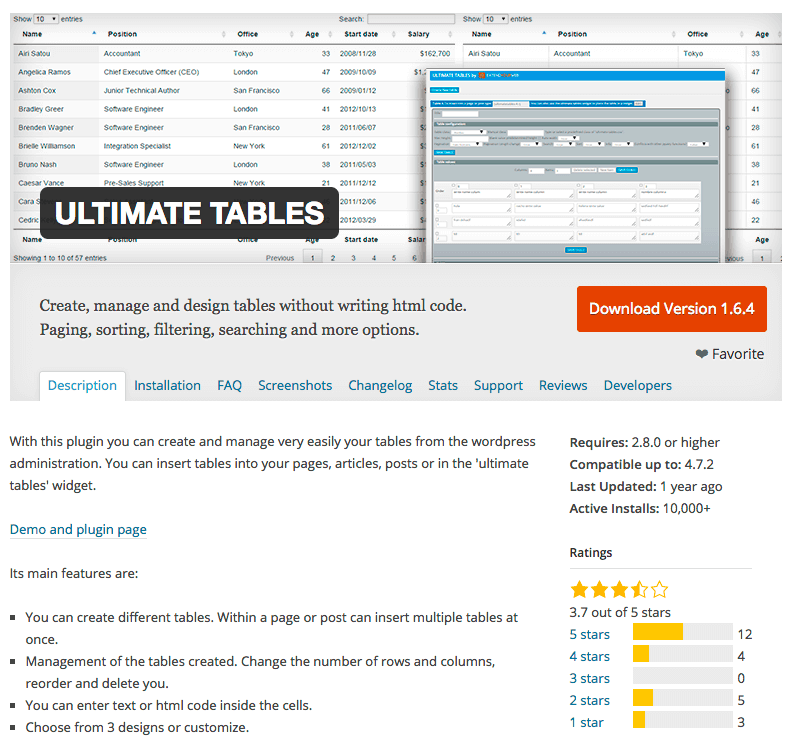 Ultimate Tables WordPress plugin