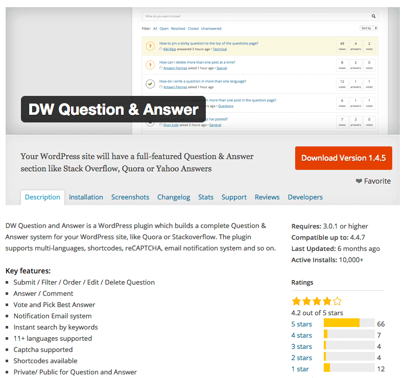 DW Question and Answer screenshot