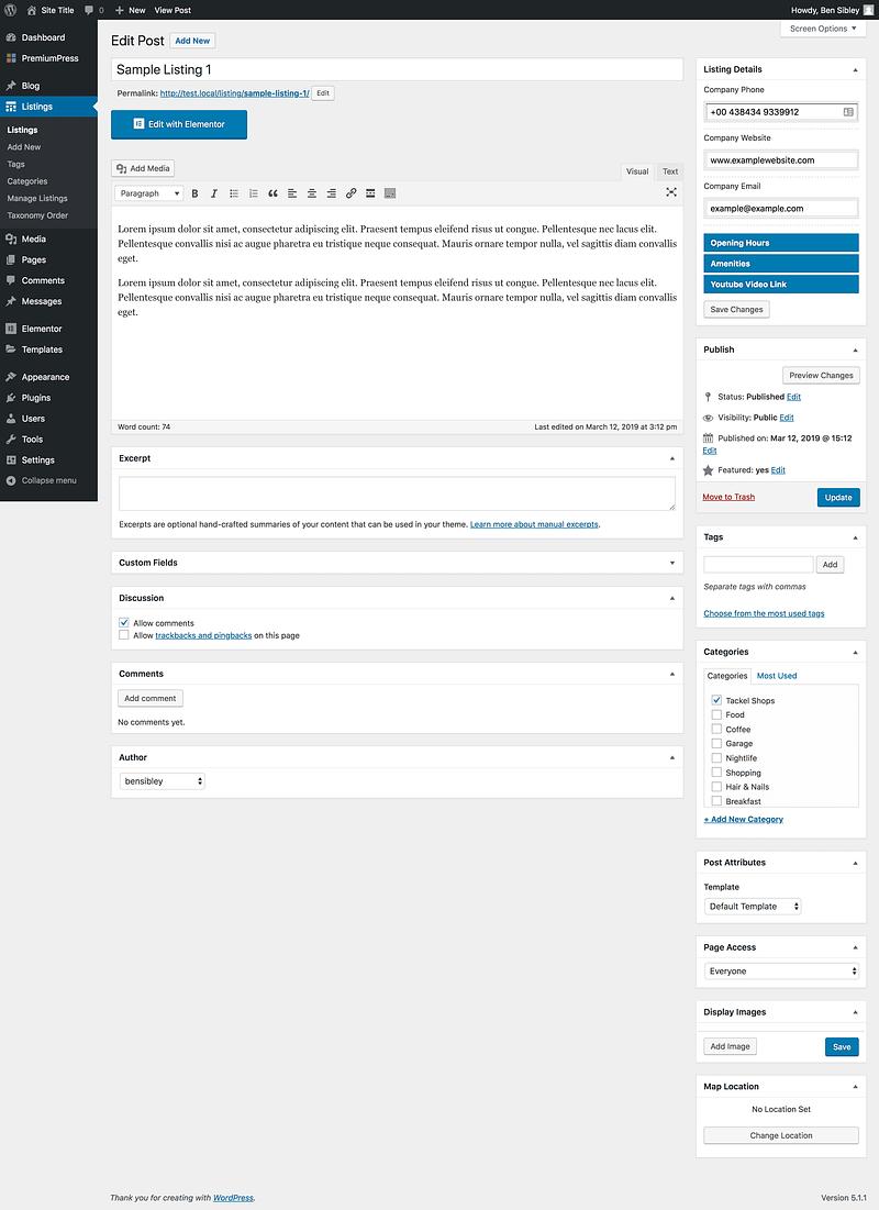 Edit Listing
