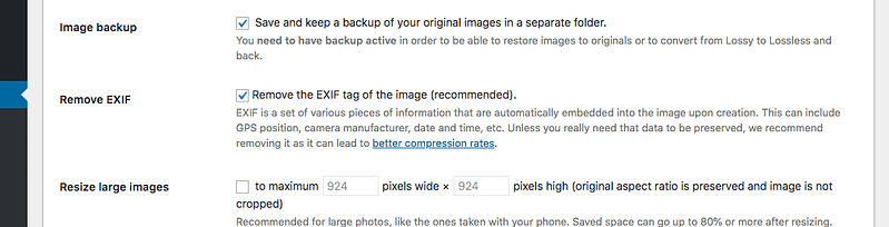 Setting in ShortPixel to remove EXIF data from images