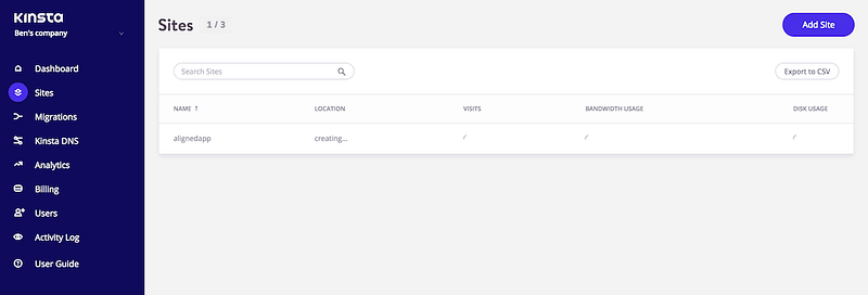 Kinsta Site Generating