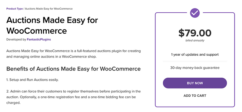 Auctions Made Easy for WooCommerce