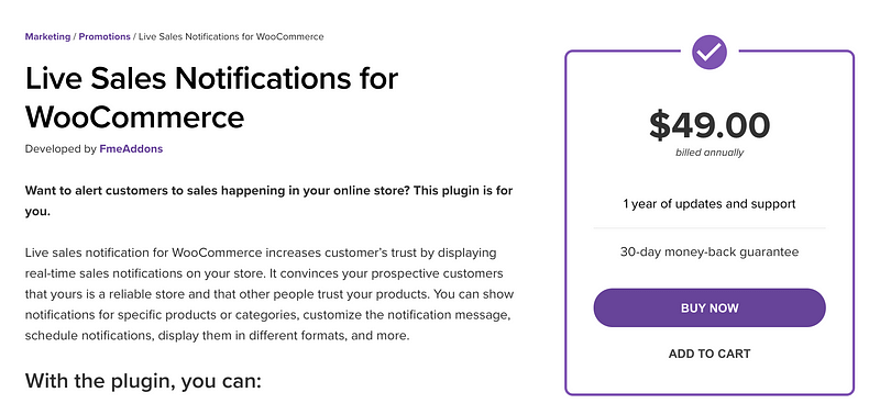 Live Sales Notifications for WooCommerce