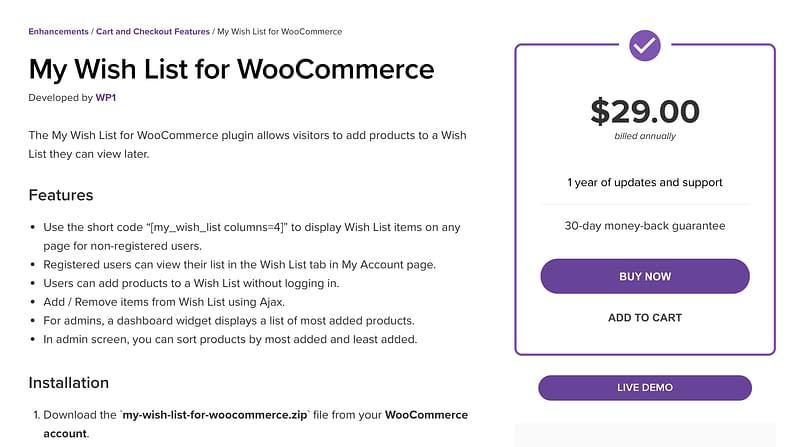 My Wish List WooCommerce