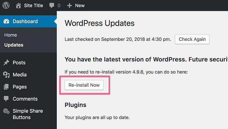 Re-install WordPress