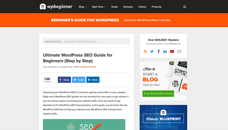 WPBeginner WordPress SEO tutorial