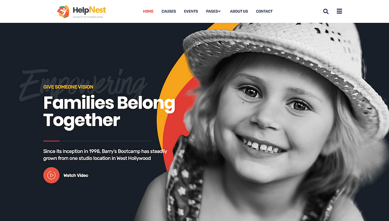 HelpNest charity Elementor template
