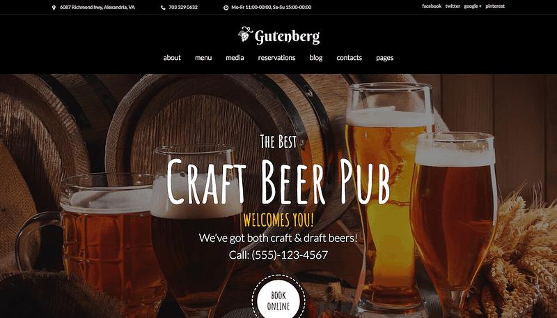 GutenBerg craft beer theme