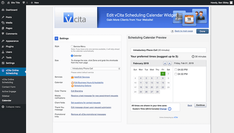 Vcita Calendar Preview