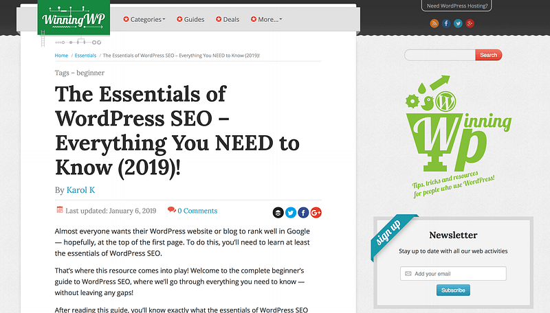 Winningwp Seo Essentials