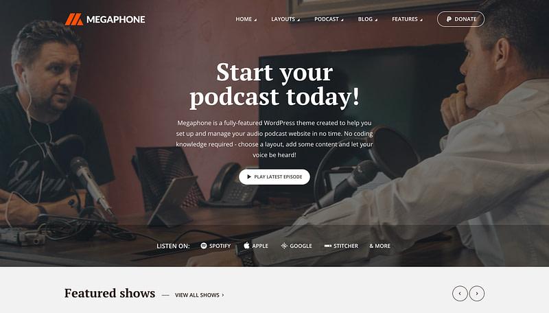 Megaphone WordPress podcast theme