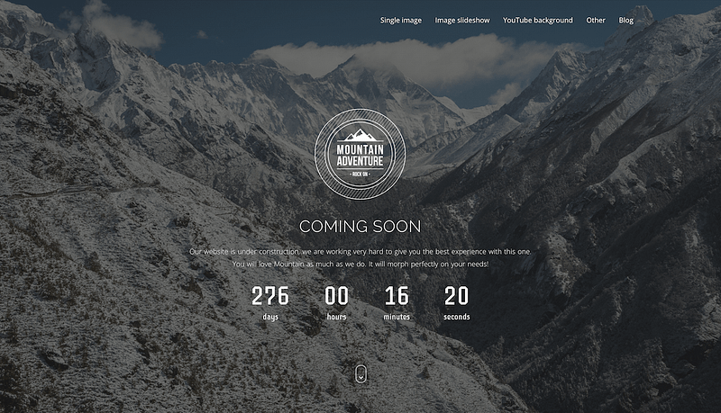 Mountain coming soon page theme
