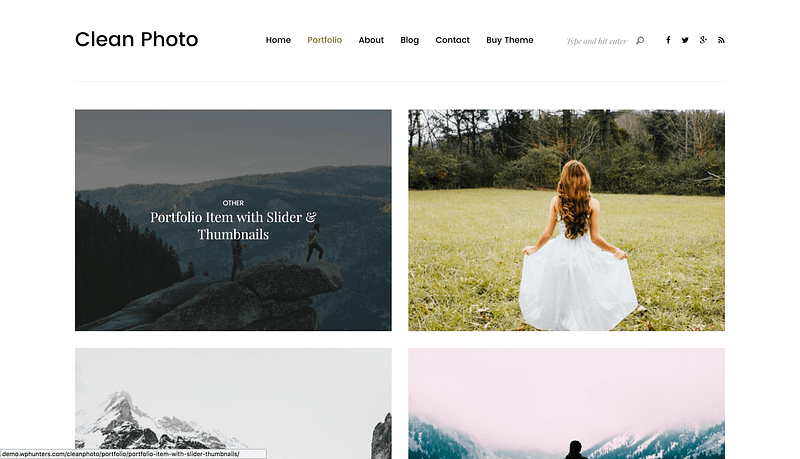 Clean Photo portfolio theme