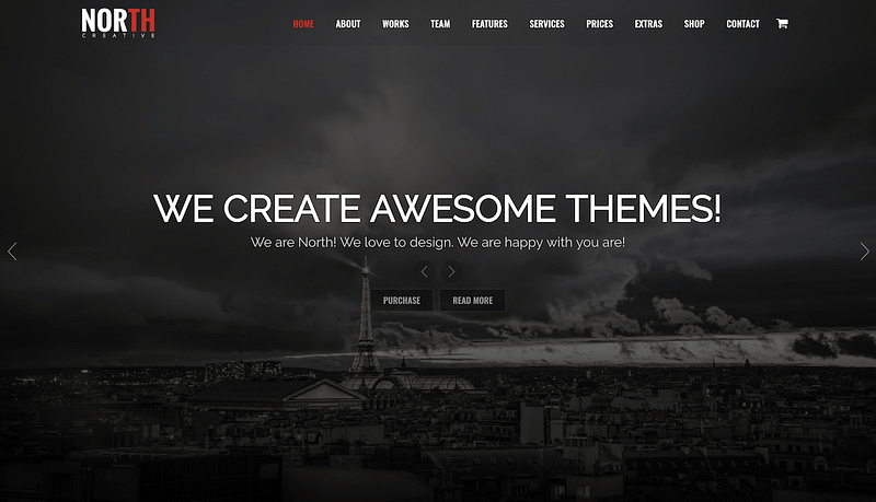 North one-page theme