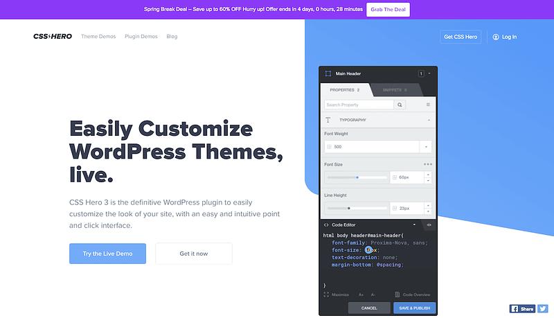 CSS Hero homepage screenshot
