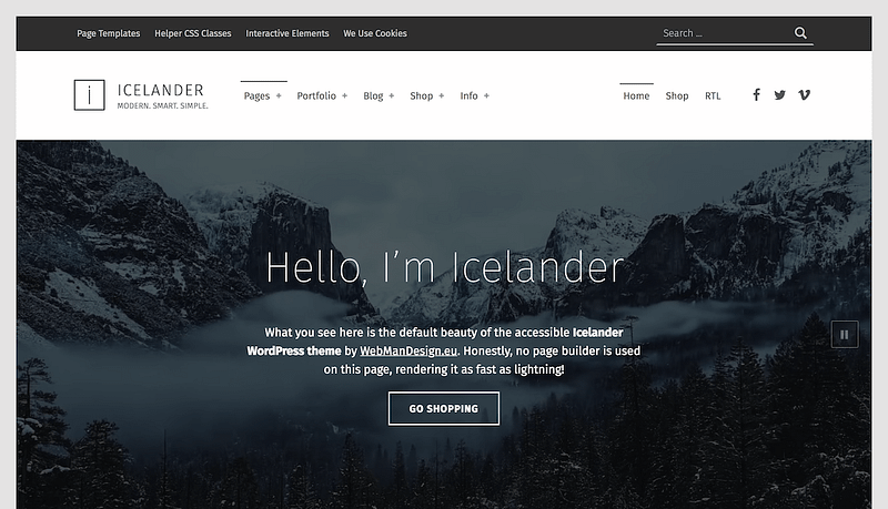 Icelander accessible business theme