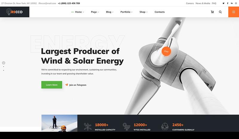 iRecco renewable energy theme
