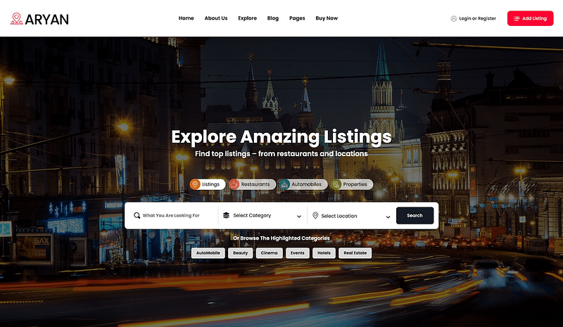 Aryan directory WordPress theme