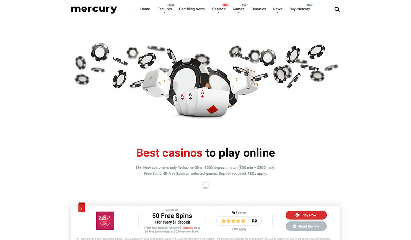 Mercury casino affiliate theme