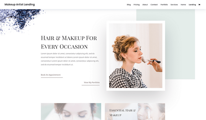 Divi makeup artist template
