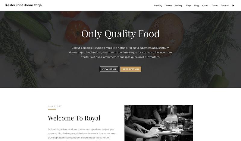 Divi restaurant theme layout