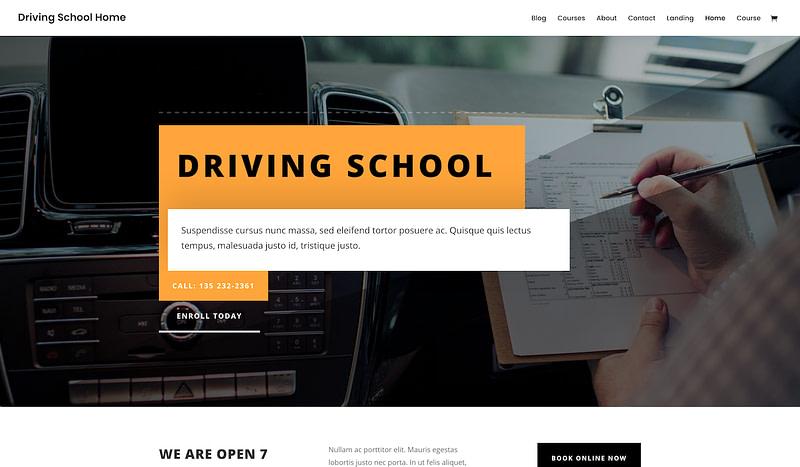 Divi Driving School template