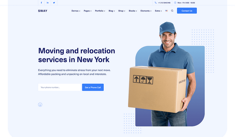 Sway template for moving companies