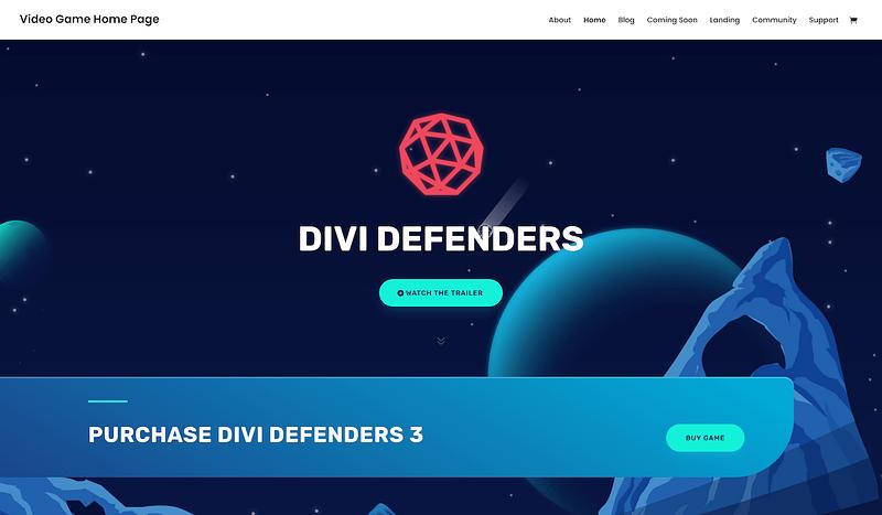 Divi game developer layout