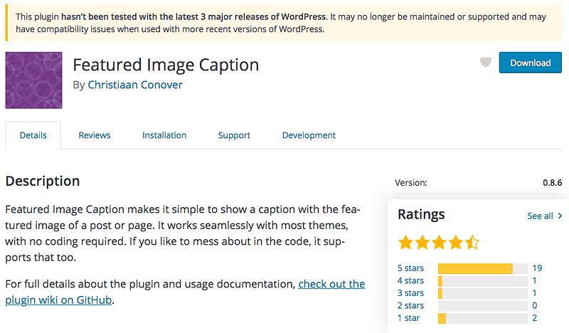 Featured Image Caption Plugin