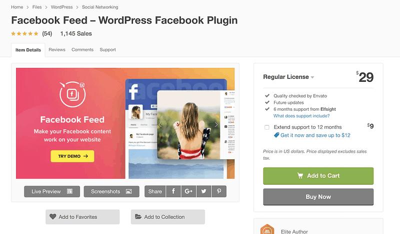 Facebook Feed premium plugin