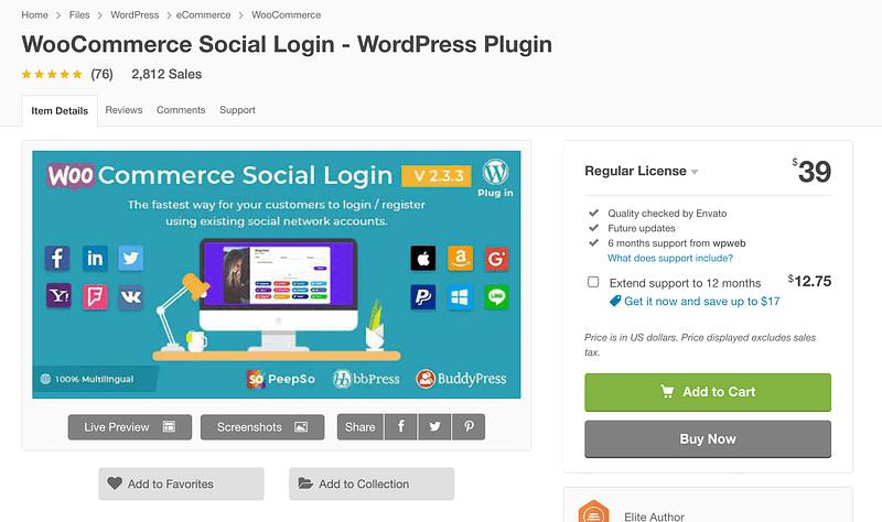 WooCommerce Social Login on CodeCanyon