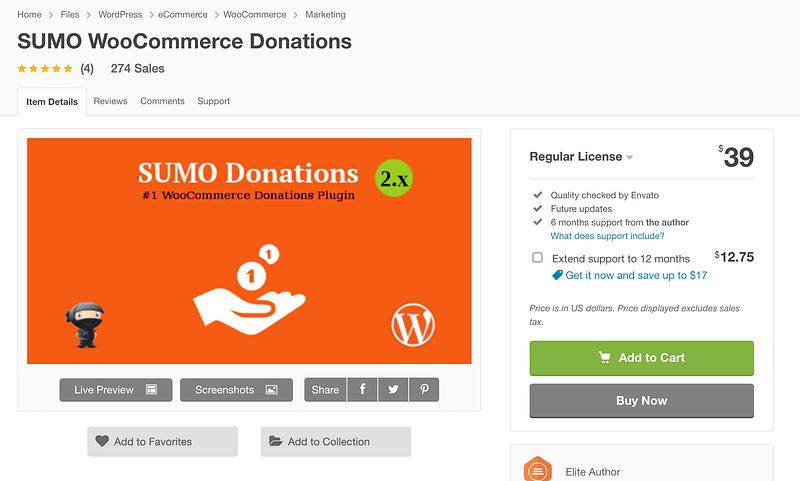 SUMO WooCommerce Donations