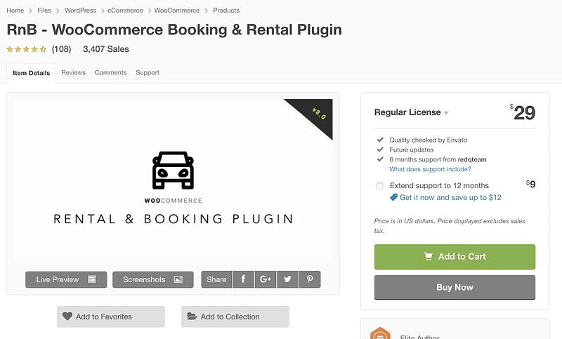 Rnb car rental plugin