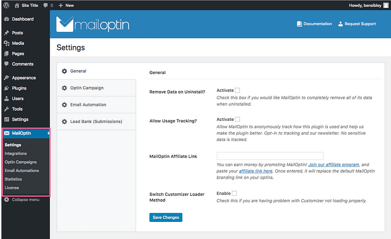 MailOptin Settings