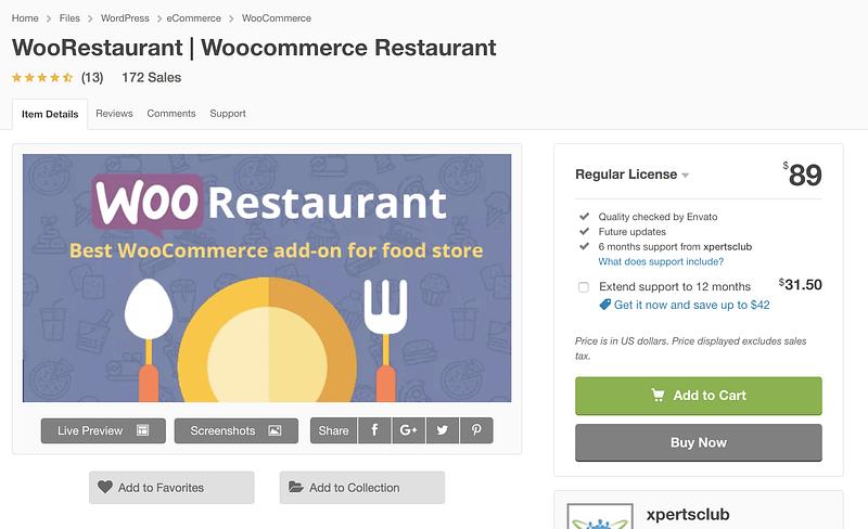 WooRestaurant plugin