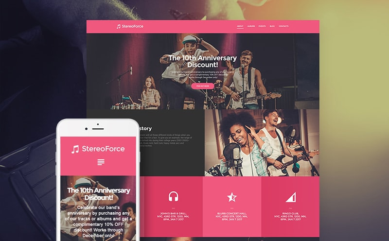 Stereo Force responsive band WordPress theme