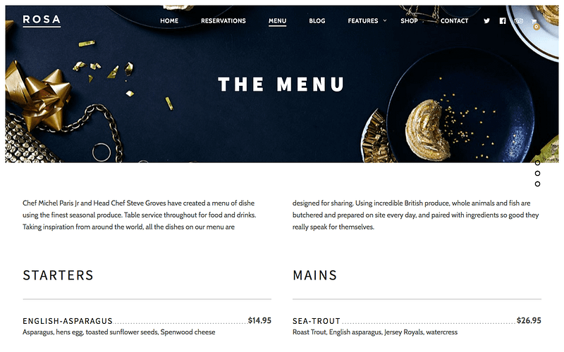 Rosa menu