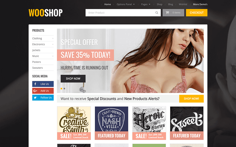 WooShop eCommerce WordPress theme
