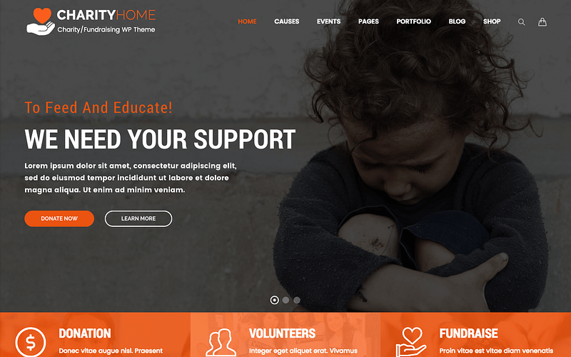 Charity Home WordPress theme