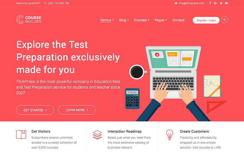 Course Builder for online exams