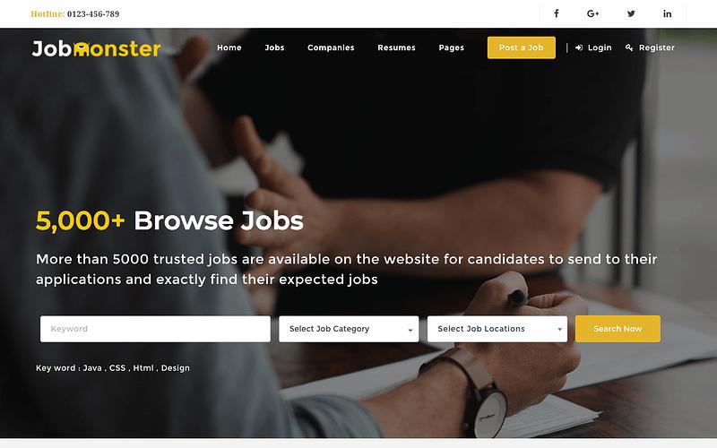 Jobmonster job board theme