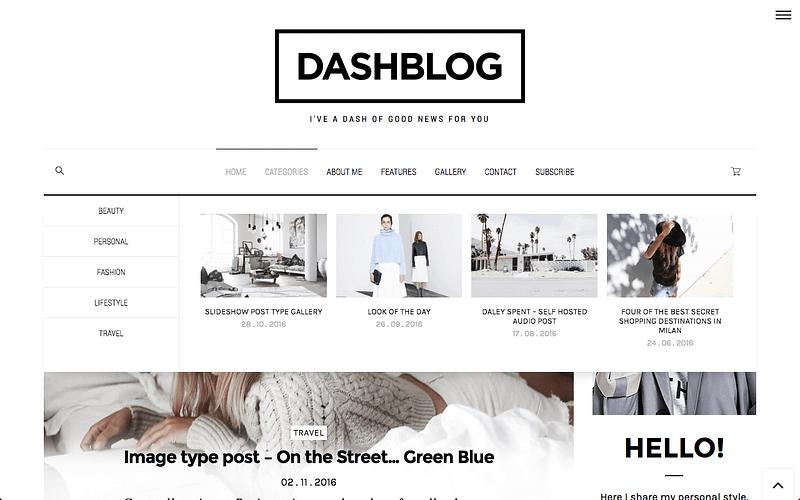 DashBlog theme with mega menus