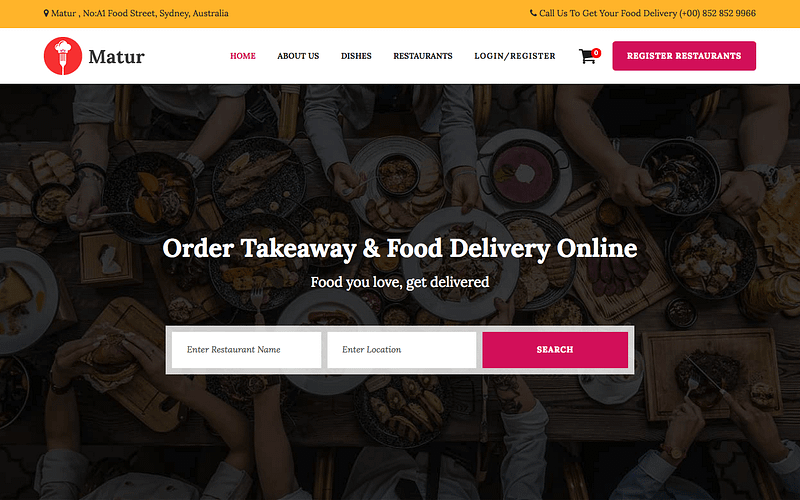 Matur food delivery service WordPress theme