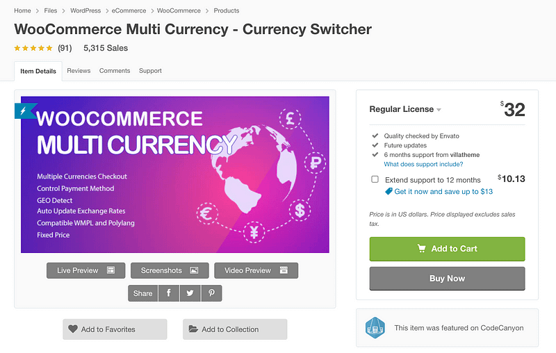 WooCommerce Multi Currency Switcher