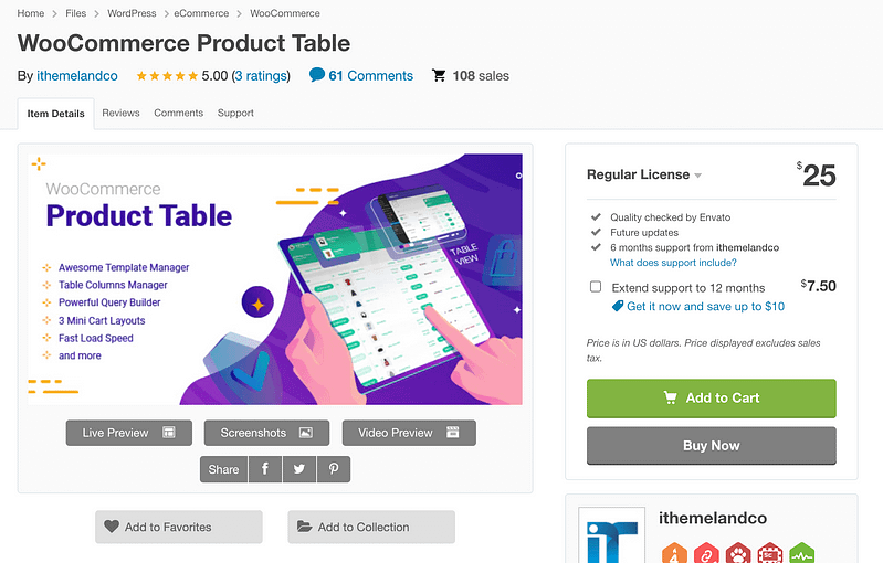 WC Product Table
