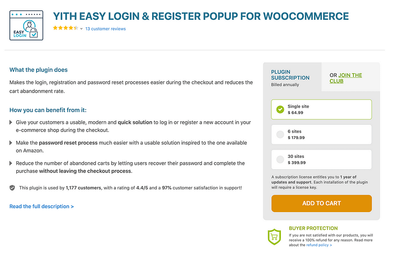 YITH Easy Login & Registration Popup for WooCommerce