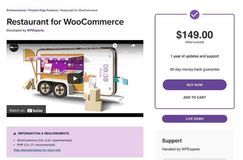 Restaurant WooCommerce