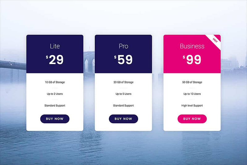 Elementor Pricing Tables